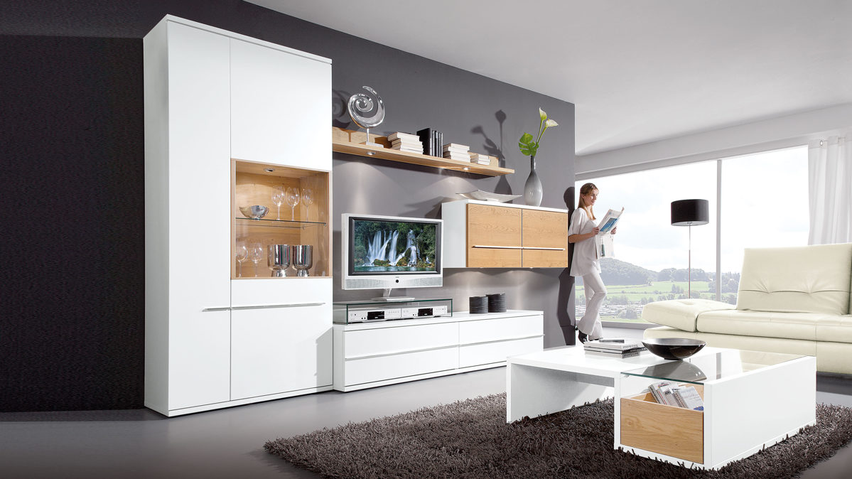 moderne loddenkemper wohnwand mit h ngeschrank und wandregal glei ner. Black Bedroom Furniture Sets. Home Design Ideas