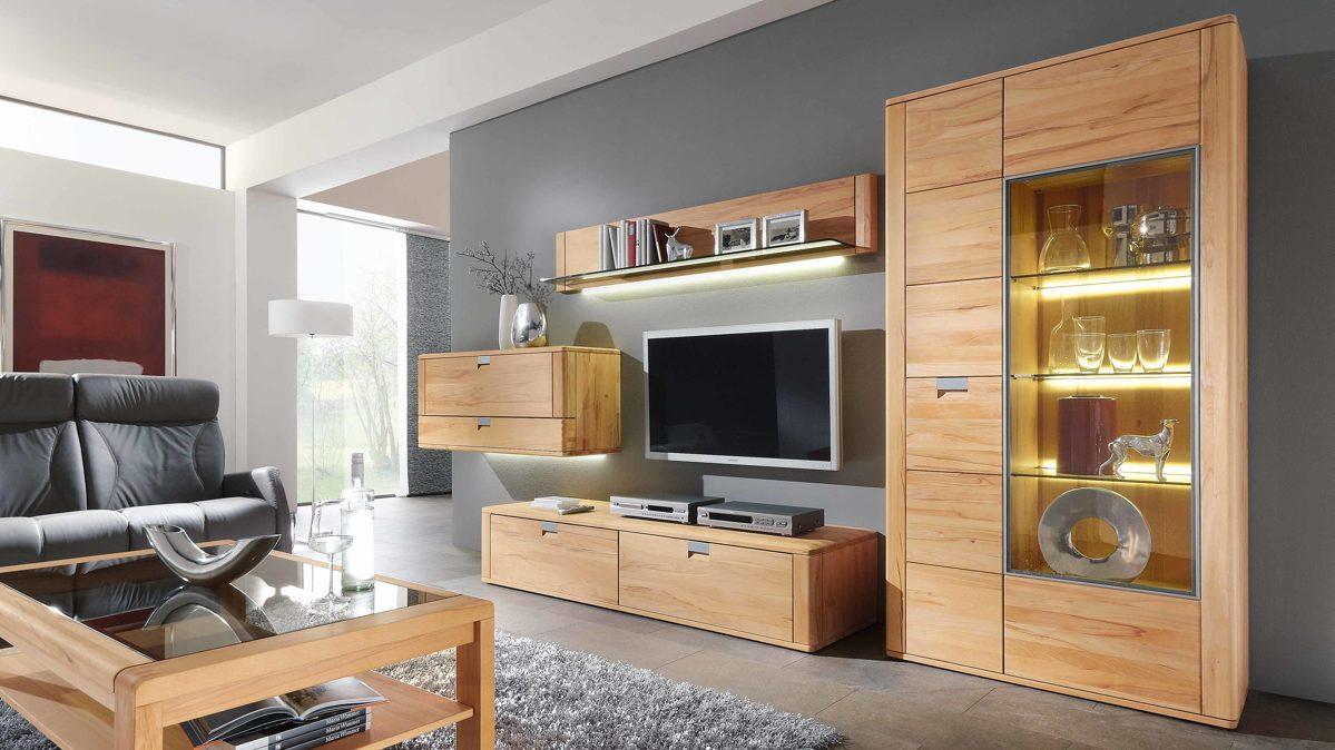 Partnerring collection massivholz wohnkombination bzw for Moderne wohnwand massivholz