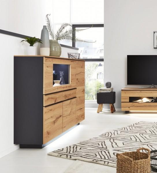 Interliving Wohnzimmer Serie 2103 - Highboard 560713 mit Beleuchtung