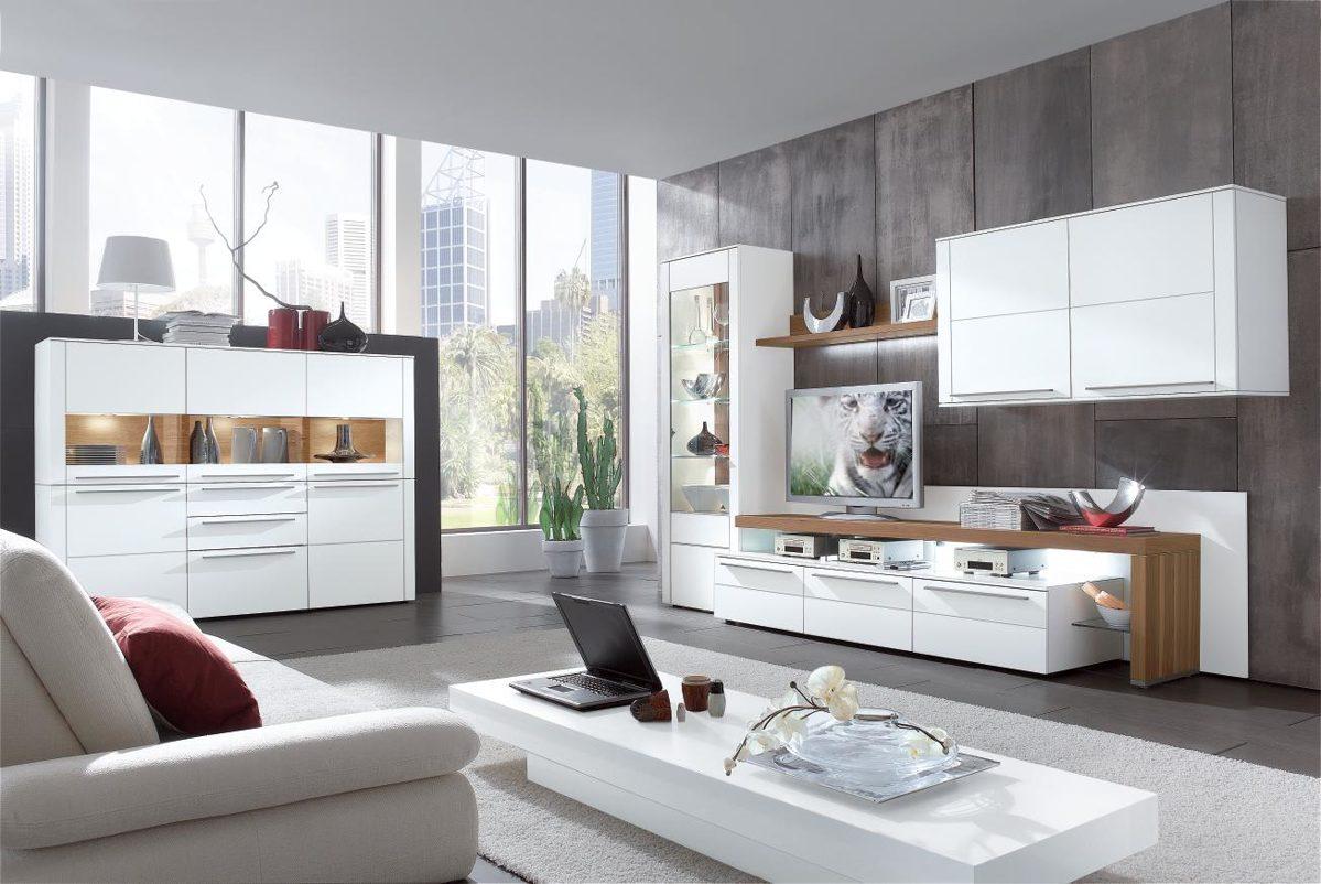 Moderne gwinner wohnwand mit wandregal und glasvitrine for Moderne wandregale wohnzimmer