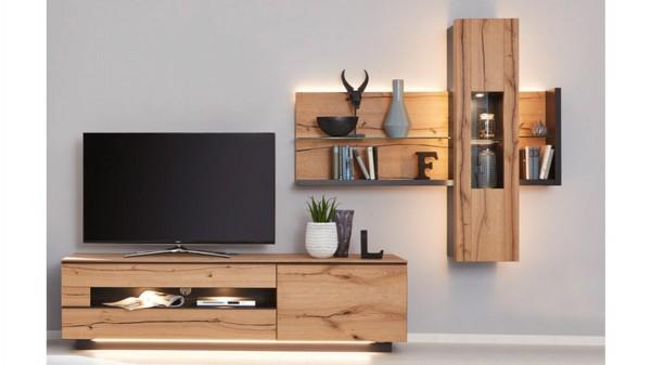 Interliving Wohnzimmer Serie 2103 - Wohnwand 560001S mit Beleuchtung