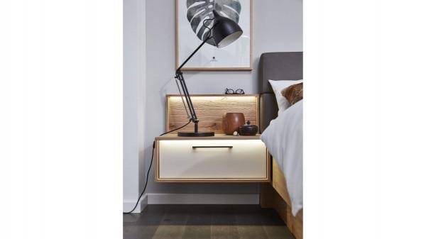 Interliving Schlafzimmer Serie 1002 - Hängekonsole und Aufsätze mit Beleuchtung