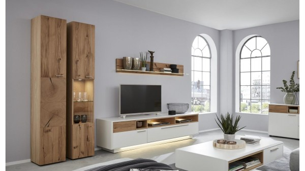 Interliving Wohnzimmer Serie 2102 - Wohnkombination 510804S mit Beleuchtung