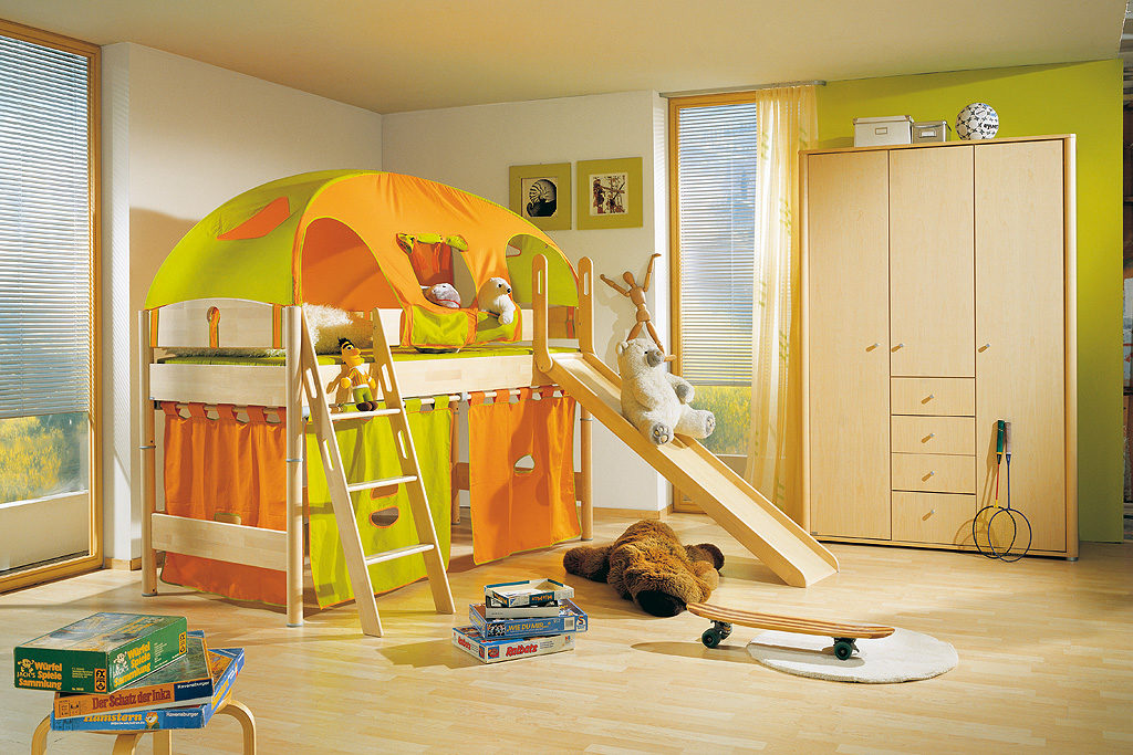 paidi spielbett fleximo mit leiter und rutsche glei ner. Black Bedroom Furniture Sets. Home Design Ideas